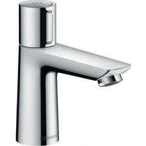 Robinet de lavabo,bec haut,HansGrohe,sans vidage,mitigeur monocommande,automatique,blanc/chromé