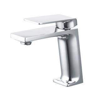 Basin tap, low spout, flat beak, chrome