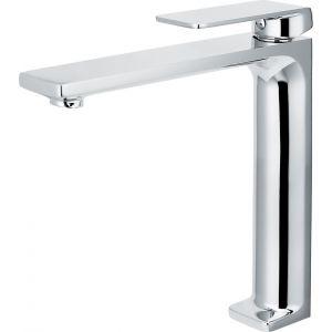 Basin tap, high spout, flat beak, chrome