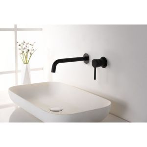 Robinet lavabo mural, mitigeur monocommande, encastré, noir mat