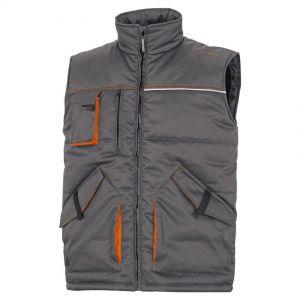 Chaleco de trabajo, multibolsillos, talla XL, color gris/naranja