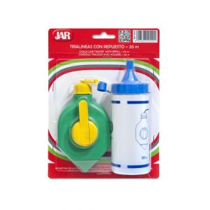 Chalk Line set, JAR, stopper with handle, with spare, green/yellow