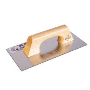 Llana rectangular inoxidable, 30cm, mango madera, para aplicación cerámica, Rubi