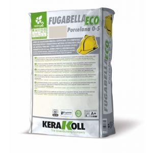 Mineral Grouts for Ceramic, Porcelain Tiles and Natural Stone, fugabella eco porcelain, 5kg bag, color 02, Light Gray, Kerakoll