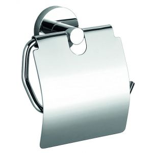 Toilet roll holder, Odeon, with cover, wall mounted, 14x15x7cm, chrome