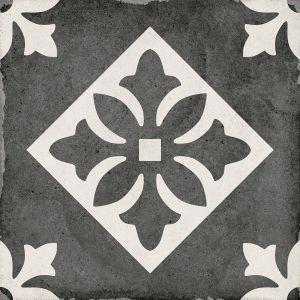 Art Nouveau Padua Black 20x20, Cerámica, Suelo, Pavimento, Decor, Porcelánico