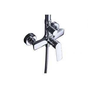 Fixed bar head shower, mixer tap, with hand shower, chrome