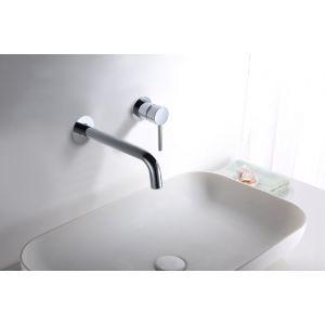 Aixeta lavabo paret, mesclador monocomandament, encastat, crom