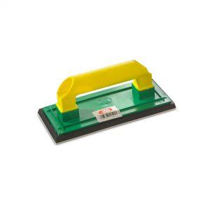 Paleta albañil, llana construcción, JAR, base de goma, 25x11cm, verde/amarillo